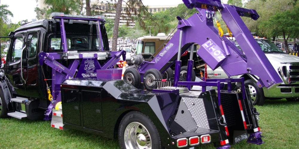 Texama Trailer Body & Welding purple tow truck